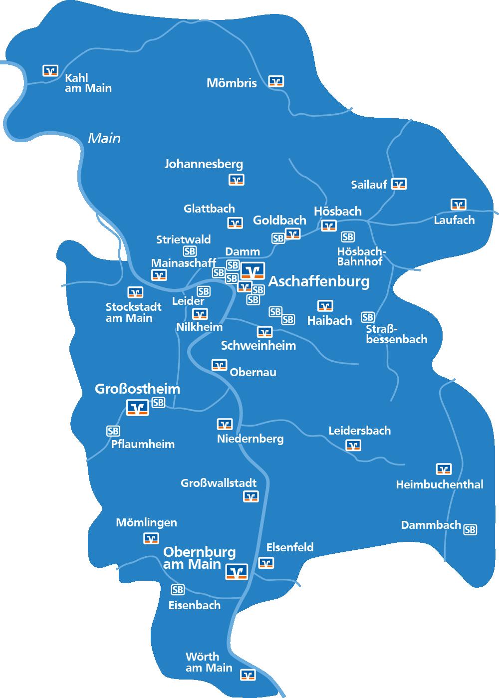 Geschäftsstellen der Raiffeisen-Volksbank Aschaffenburg eG in der Übersicht